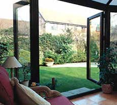 French doors opened out into sheltered location.