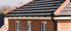 Contrasting bright white & black guttering/downspouts.